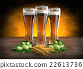 three glasses of beer with barley and hops - 3D 22613736