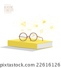 Yellow book with glasses resting on top. 22616126