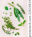 Various fresh herbs from the garden . 22616814