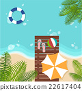 background of summer beach with beach parasol 22617404