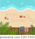 background of summer beach with couple flip flops 22617405