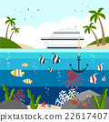 summer sea background with passenger ship 22617407