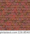 復古粘土瓦屋頂紋理背景(無縫接圖,高分辨率 3D CG 渲染∕著色插圖) 22618540