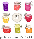 The set of hand drawn jars with home-made jams. 22619487