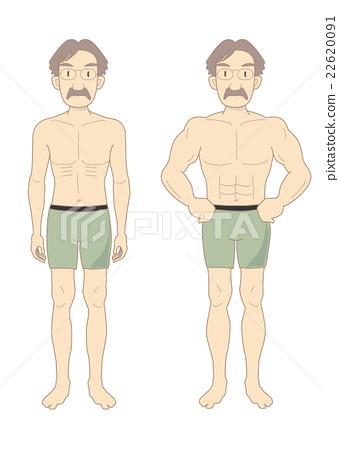 肌肉 前後 男人 22620091