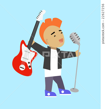 Singer Guitarist with Microphone and Guitar 22627256