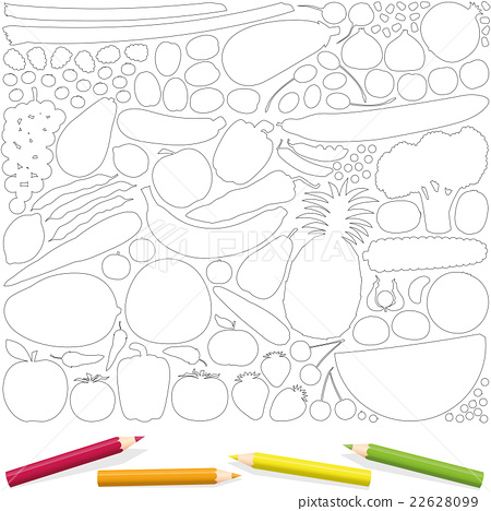 Fruits Vegetables Coloring Page Picture Template Stock Illustration 22628099 Pixta