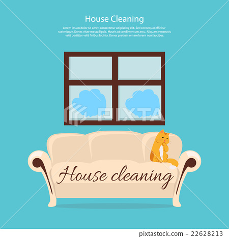 Stock Illustration: House Cleaning. Cat on Sofa Design Flat