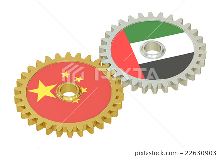 China and UAE flags on a gears, 3D rendering 22630903