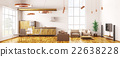 Modern loft apartment interior panorama 3d render 22638228
