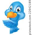 Bluebird Peeking Around Sign 22642189