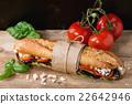 Vegetarian baguette sandwich 22642946