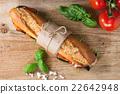 Vegetarian baguette sandwich 22642948
