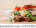 Sandwish with ham and cheese 22642983
