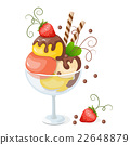 isolated ice cream on white with strawberry 22648879
