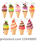 set of isolated ice cream on the white 22648885