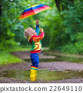 Child playing in the rain 22649110