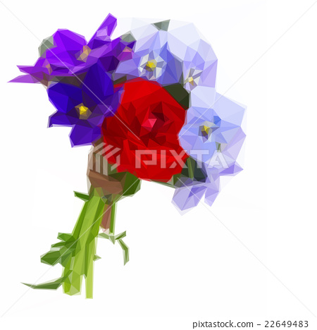 Posy of violets, pansies and ranunculus 22649483