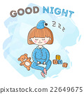 Vector sleeping girl with toys poster. Little kid 22649675