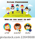 Vector banners of cute cartoon kids in different 22649688