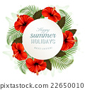 Tropical leaves and flowers with a holidays banner 22650010