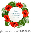 Tropical leaves and flowers with holidays banner.  22650013