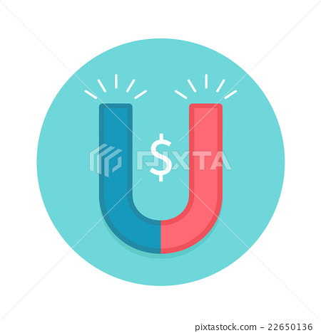 Icon of magnet. Red and white magnet with symbol 22650136