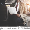 Businessman Waiting Station Reading Travel Concept 22652636