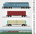Set of freight train cargo cars. 22664181
