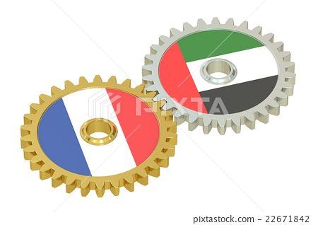 France and UAE relations concept, flags on a gears 22671842