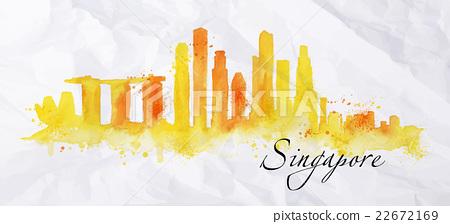Silhouette watercolor Singapore 22672169