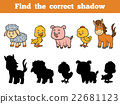 Find the correct shadow for children. Farm Animals 22681123