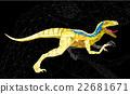Dinosaur Velociraptor in geometric pattern style 22681671