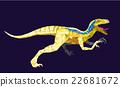 Dinosaur Velociraptor in geometric pattern style 22681672