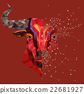 Red bull head with geometric pattern 22681927
