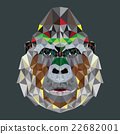 Gorilla head design in geometric pattern 22682001