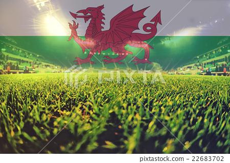 Stock Photo: euro 2016 stadium with blending Wales flag