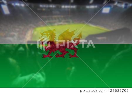 Stock Photo: stadium with blending Wales flag