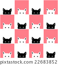 Black White Pink Cat Chess board Background 22683852