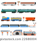 Rail Transport Flat Colorful Icons Set 22686004