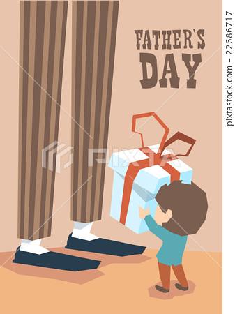 Small Boy Give Present Box Adult Man Long Legs 22686717