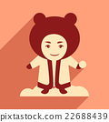 flat icon with long shadow child playing snow 22688439
