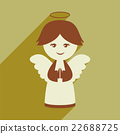 flat icon with long shadow Christmas angel 22688725