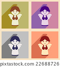 Set flat icons with long shadow Christmas angel 22688726