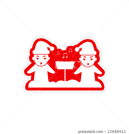sticker on white background children sing carols 22689422
