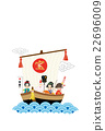 rooster, new year's card, treasure ship 22696009