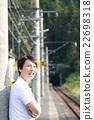 一個人無人居住的車站(農村單軌家庭風景景觀火車火車旅行回家鐵路春夏軌道) 22698318