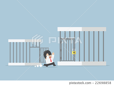 Businessman runing out from small cage to bigger 22698858
