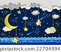 Moon and stars in the clouds. 22704994