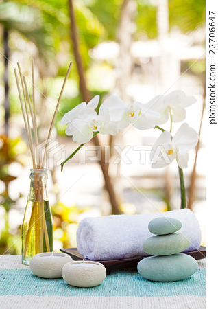Wellness background  Spa and wellness massage setting Summer background - Stock Photo ...
